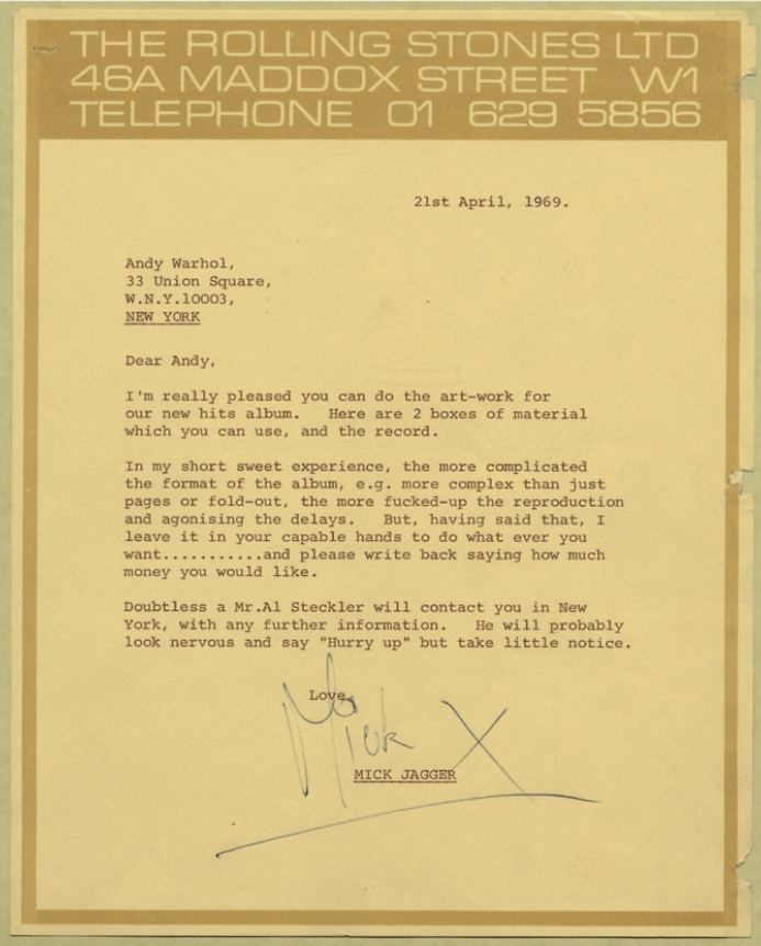 Mick Jagger letter to Andy Warhol