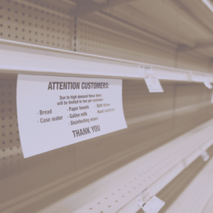 Empty store shelves during COVID-19 pandemic
