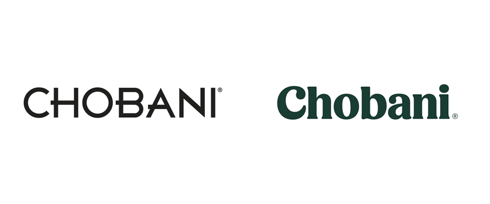 Chobani rebrand; image from on Brand New