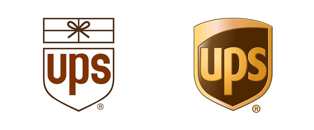 Paul Rand's UPS logo (left) and FutureBrand's 2003 redesign