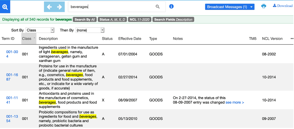 USPTO Trademark ID Manual search result 2