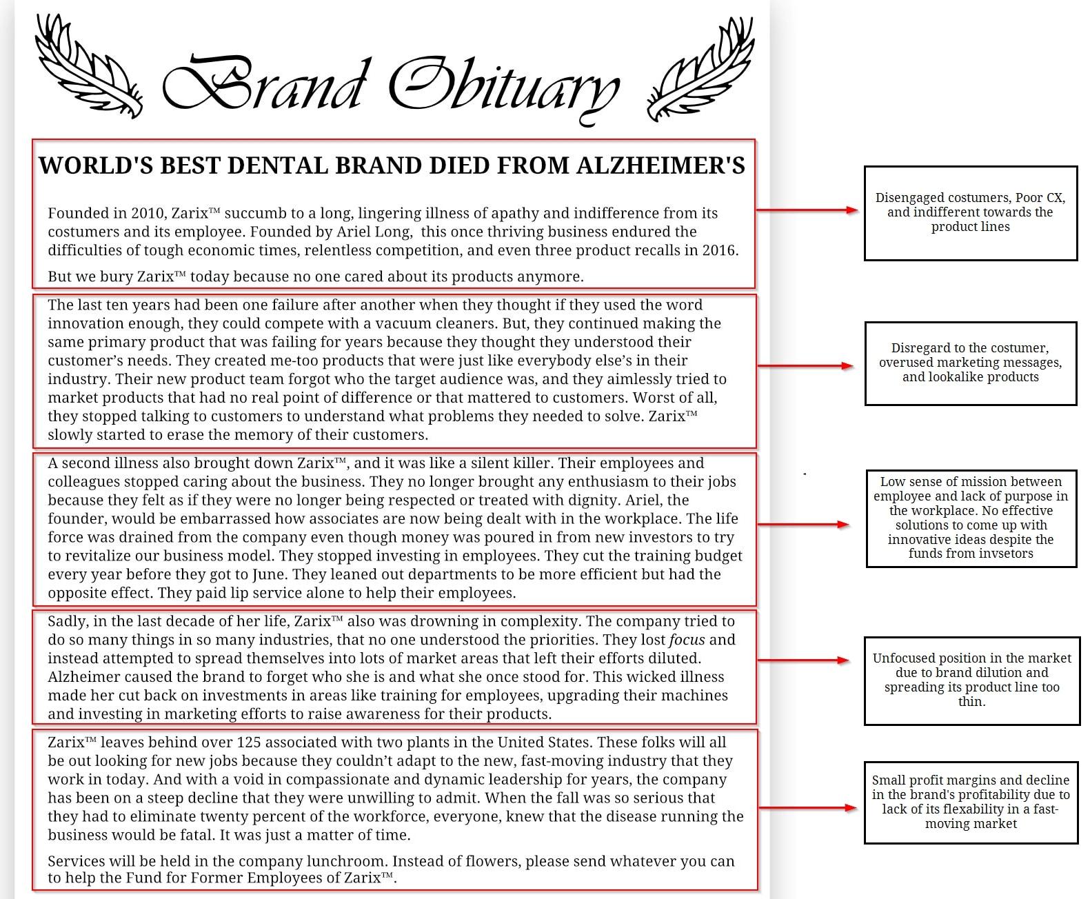 Brand Obituary Example