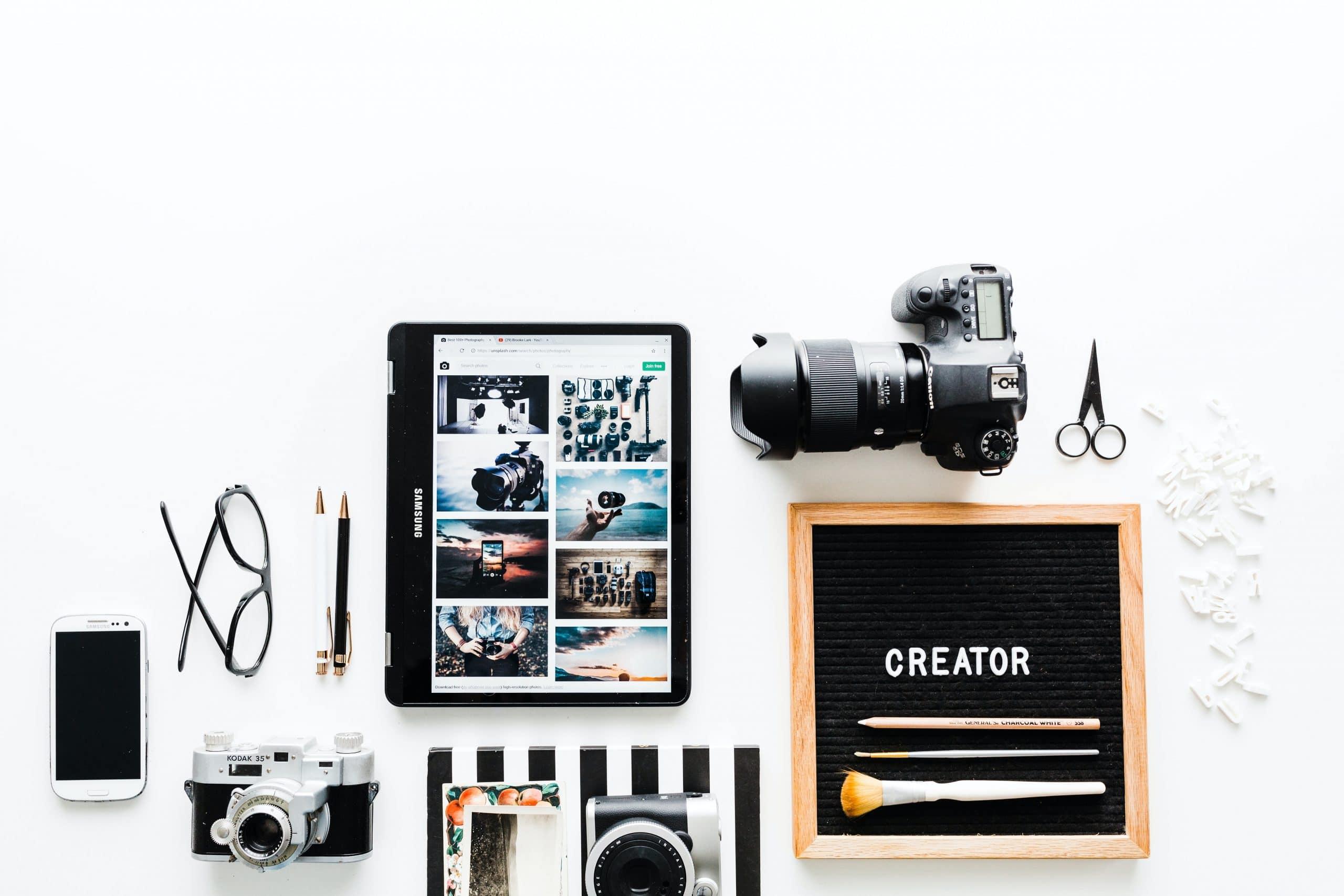 Flat view of camera, notebook, etc.