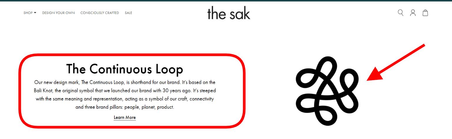 Screenshot from The Sak website